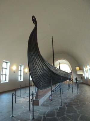 The Oseberg Ship built around 820, the most ornate of the 3 Viking ships and with pride of place in the museum