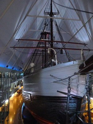 The Polar Ship Fram used by Roald Amundsen inside its museum at Bygdoy