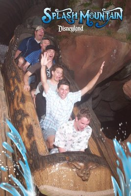 The Splash Mountain log plume plunges  down towards the water - I'm the 2nd from the back