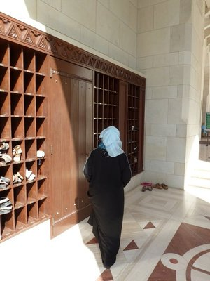 Shoe Racks by the entrance to the ladies prayer hall