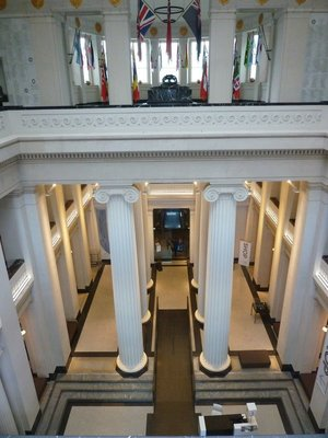 Looking down on the Grand Foyer of the Auckland Museum