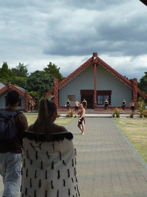 Before entering the Marae we were subjected to a welcoming ceremony