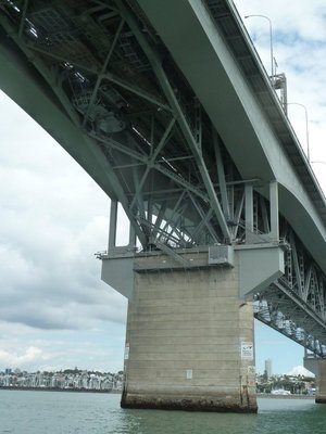 The bungy pod close to the south pier that they jump from underneath the Auckland Harbour Bridge