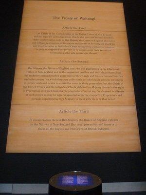 The 1840 Treaty of Waitangi wall high in the Te Papa Museum