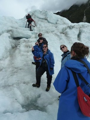 We wait while our guide makes sure the ice screws holding the safety line are still secure