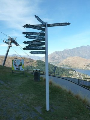 Signpost high above Queenstown, London is only 18,946 kilometres (11,772 miles) away!