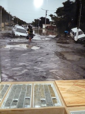 Photo on display in Quake City showing the aftermath of liquefaction in the suburbs