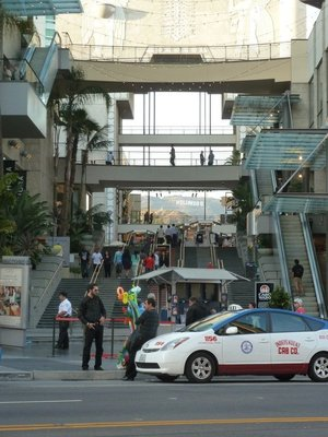 The Hollywood Sign viewed through a shopping centre on Hollywood Boulevard