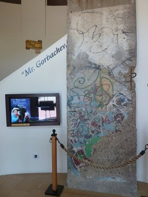 A piece of the Berlin Wall greeting visitors at the Reagan Ranch Center