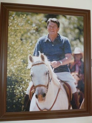 Photographic Portrait of President Reagan greeting visitors at the Reagan Ranch Center
