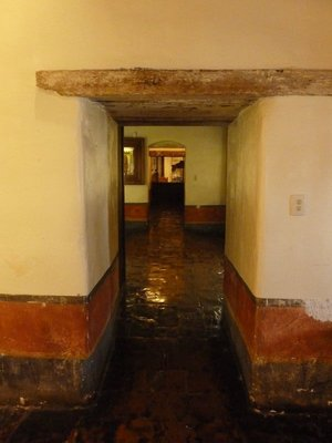 Making our way through the old rooms of the museum at the Santa Barbara Mission