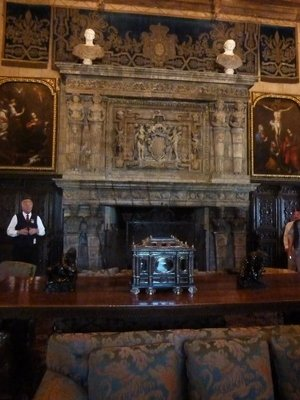The French 16th century stone fireplace in the Casa Grande's Assembly Room