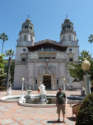 Me in front of the main facade of Hearst Castle's Casa Grande