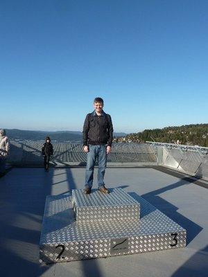 Me standing on the top of the medals podium at the very top of the Ski Jump