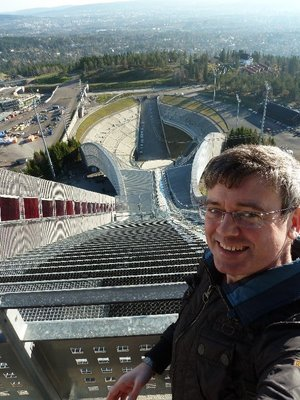 Selfie of me at the start of the Holmenkollen Ski Jump
