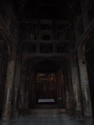 View of the nave inside the Stave Church