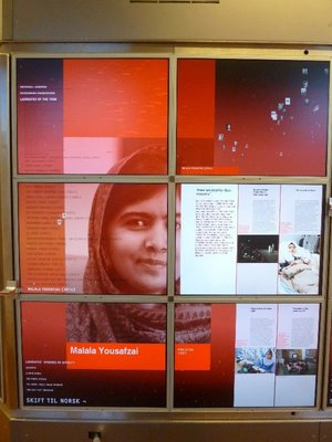 The display for 2014 Malala Yousafzai on the Nobel Peace Centre's Wall of Papers