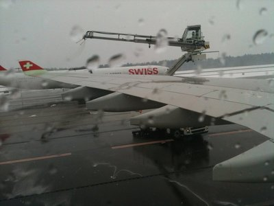 Our plane being de-iced before take-off at Zurich Airport