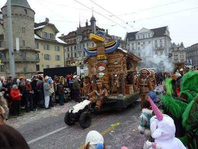 One of the many floats at Luzern Carnival