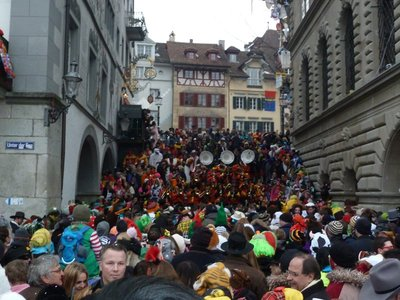 Band playing on the steps during Luzern Carnival