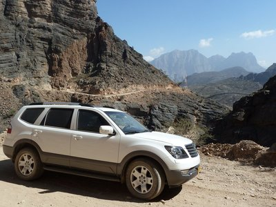 4WD is essential when climbing the Snake Pass in the Western Hajar Mountains