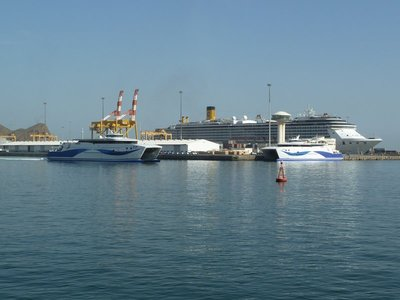 The Cruise Liner Costa Atlantica moored in Mutrah Port