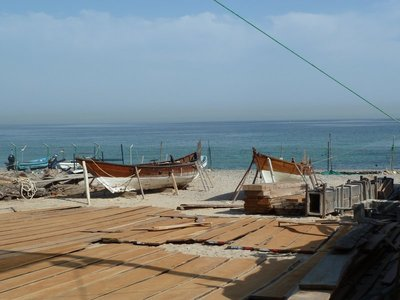 A view of the ocean from the boatyard on Qantab Beach