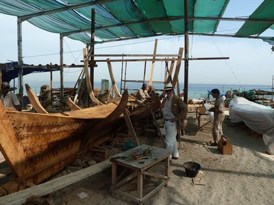 Boat construction underway at the Qantab Beach Boatyard