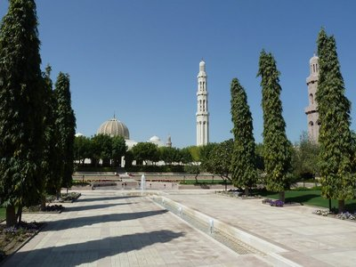 The eastern gardens (complete with water features) at Muscat's Sultan Qaboos Grand Mosque