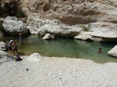The natural pool below the waterfall above Wadi Bani Khalid where I went for a swim