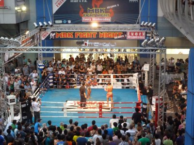 Thai Boxing underway outside the MBK Center