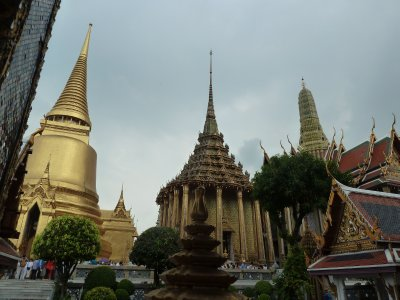 The upper terrace at the Grand Palace, including the Golden Chedi, Phra Mondop and the Royal Pantheon