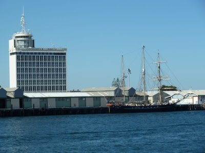 Fremantle Port Authority Building and the Leeuwin II Sail Training Ship