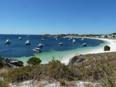 Geordie Bay full of yachts on Rottnest Island