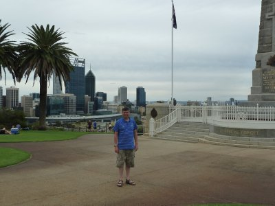 Me by the WA State War Memorial in Kings Park overlooking Perth