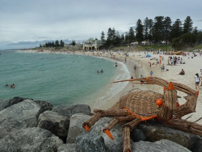 Sculpture of a lobster on Cottesloe Beach