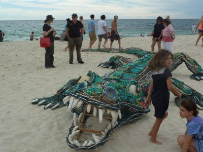 Crocodile sculpture on Cottesloe Beach