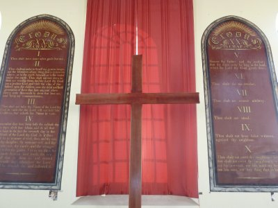 "The Chapel at Fremantle Prison - note the 6th commandment reads ""Thou shalt do no murder"" rather than the more usual ""Thou shalt not kill"""