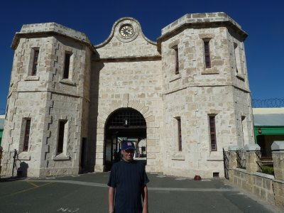 I escaped! Me outside Fremantle Prison Main Gate