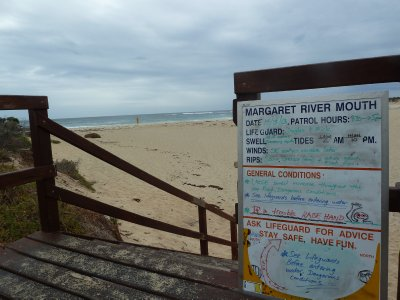 Lifeguard Notice at Margaret River Beach