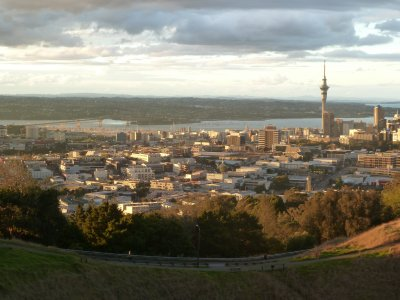 Auckland including the Harbour Bridge and Skytower from Mount Eden