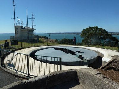 The disappearing gun at Fort Victoria overlooking Auckland Harbour