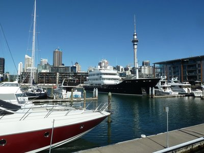 The luxury yacht Ulysses moored in Auckland's Viaduct Basin