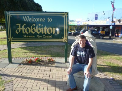 Me sat in a Gandalf shaped seat on the main street in Matamata, the nearest town to the movie set
