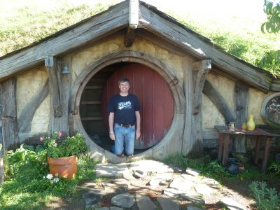Me in the doorway of a Hobbit Hole