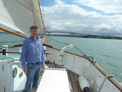Me approaching Auckland Harbour Bridge aboard the Ted Ashby