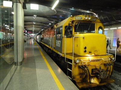 The Northern Explorer about to leave the Britomart in Auckland for Wellington