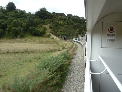 Our train leaves a tunnel on the way down to Wellington