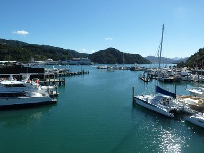 The Kaitaki docked the far side of the harbour in Picton ready to return to Wellington