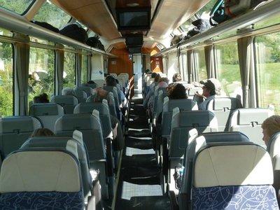 Inside the passenger carriage of a Kiwi Rail Scenic Train